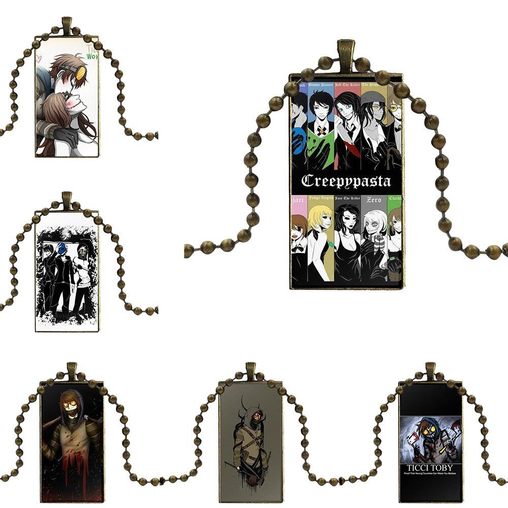 Creepypasta Ticci, collar de cristal Vintage para mujer con diseño de lector de huellas X, colgantes rectangulares para mujeres y niñas hechos a mano