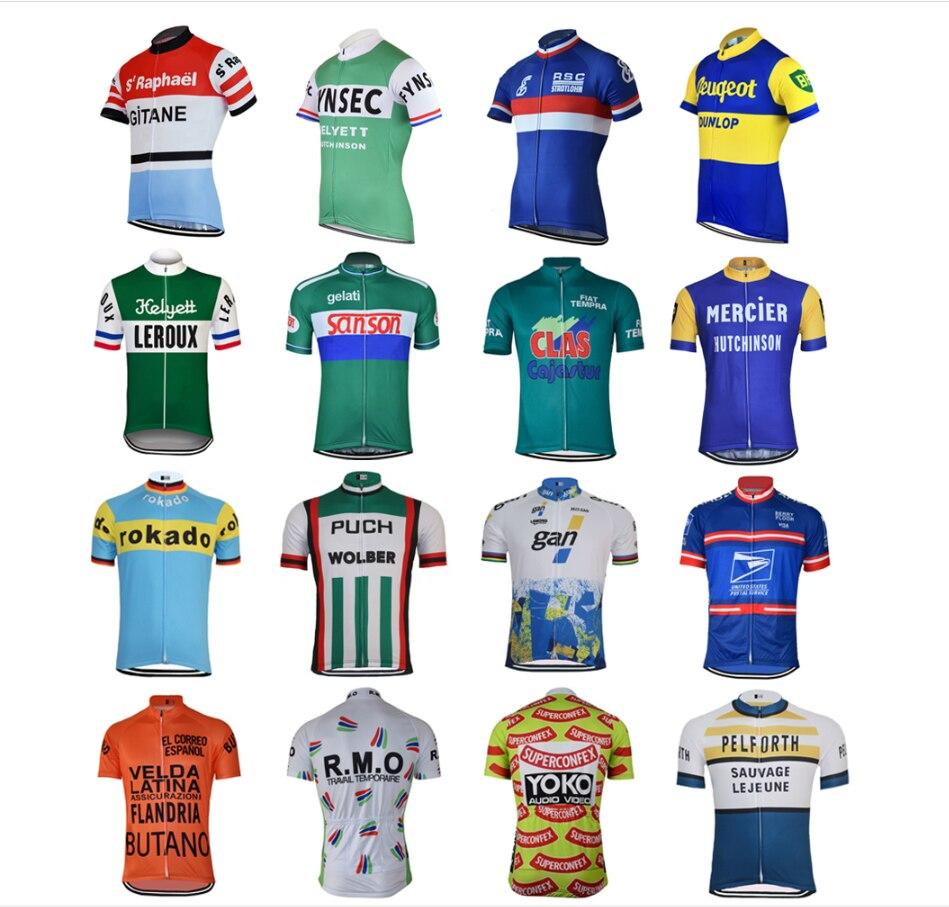 Retro clásico nuevo camino de montaña carrera equipo bicicleta camisetas de ciclismo...