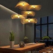 Lámpara colgante de bambú de estilo nórdico, moderna lámpara colgante de país, lámpara colgante de arroz, iluminación Interior decorativa de estilo japonés