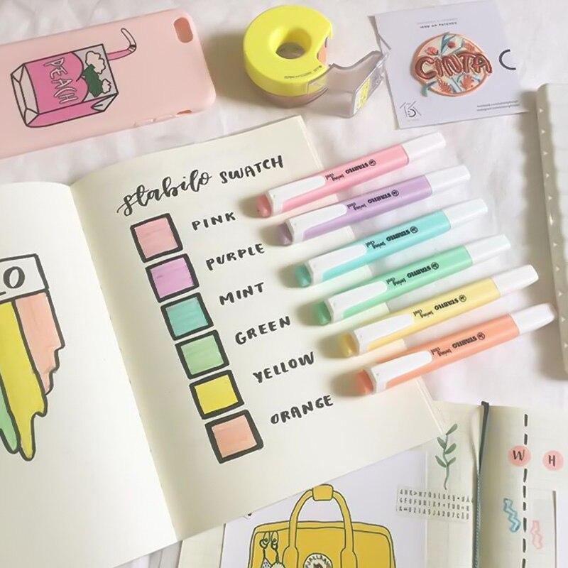Stabilo de Color neón rotulador marcador lindo pasta de dientes forma 2/5mm cincel punta para dibujo pintura Oficina Escuela DE TRABAJO A6826