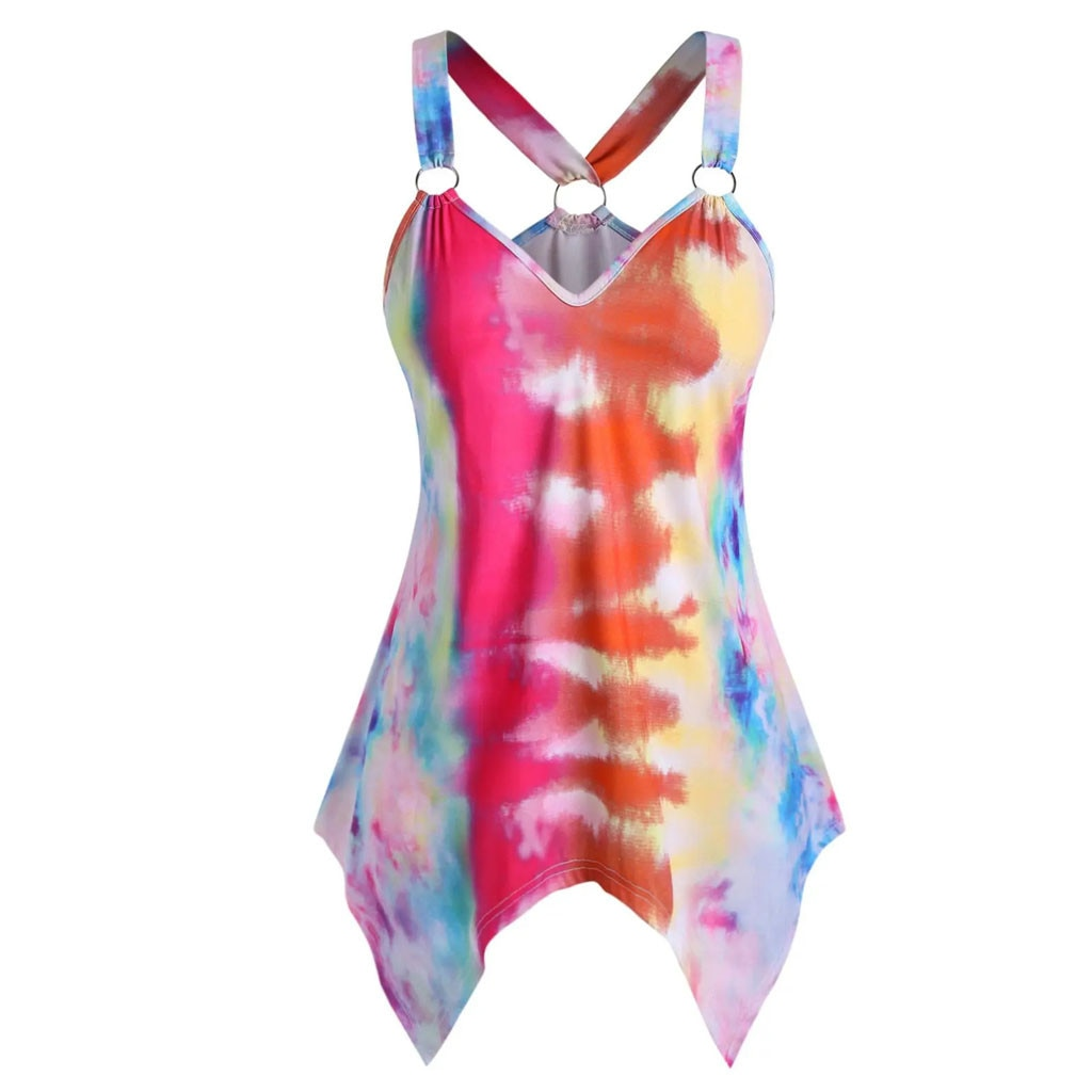 Camiseta sin mangas con tinte dibujo corbata para mujer cuello en V de talla grande O anillo pañuelo Chaleco de playa de verano mujer