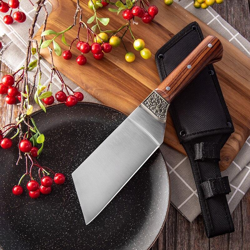 سكين الشيف الياباني من الفولاذ المقاوم للصدأ ، بمقبض خشبي ، لتقطيع اللحوم والفواكه والخضروات