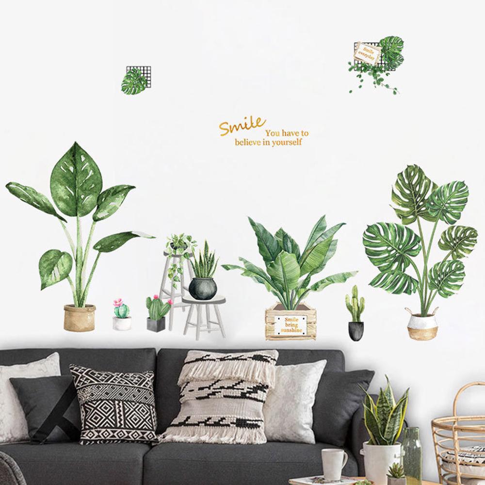 Pegatinas de pared de hojas de palma Tropical de playa decoración de...