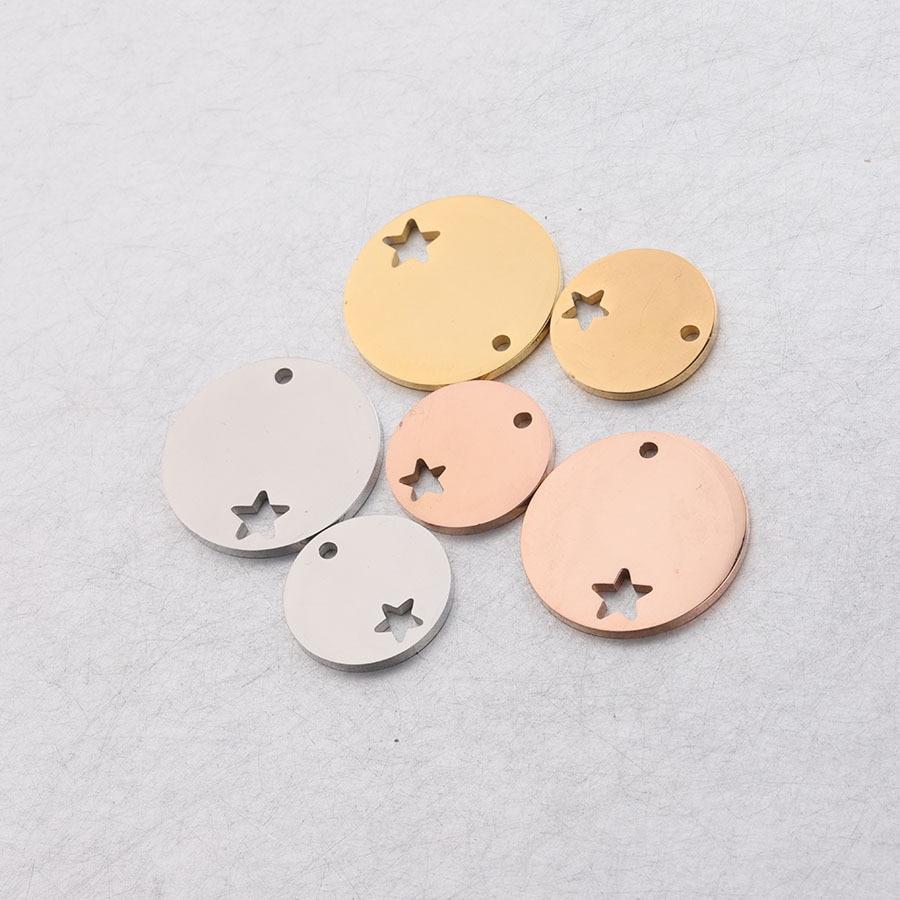 5 шт./лот 15/20 мм зеркальная полировка круглый диск звезда подвески амулеты из нержавеющей стали для