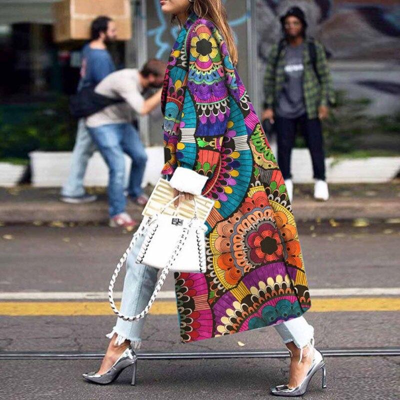 Abrigo de lana Bohemia abrigo femenino 2020 Delgado estampado Floral Chaqueta larga de mujer abrigo de cuello vuelto para mujeres prendas de vestir