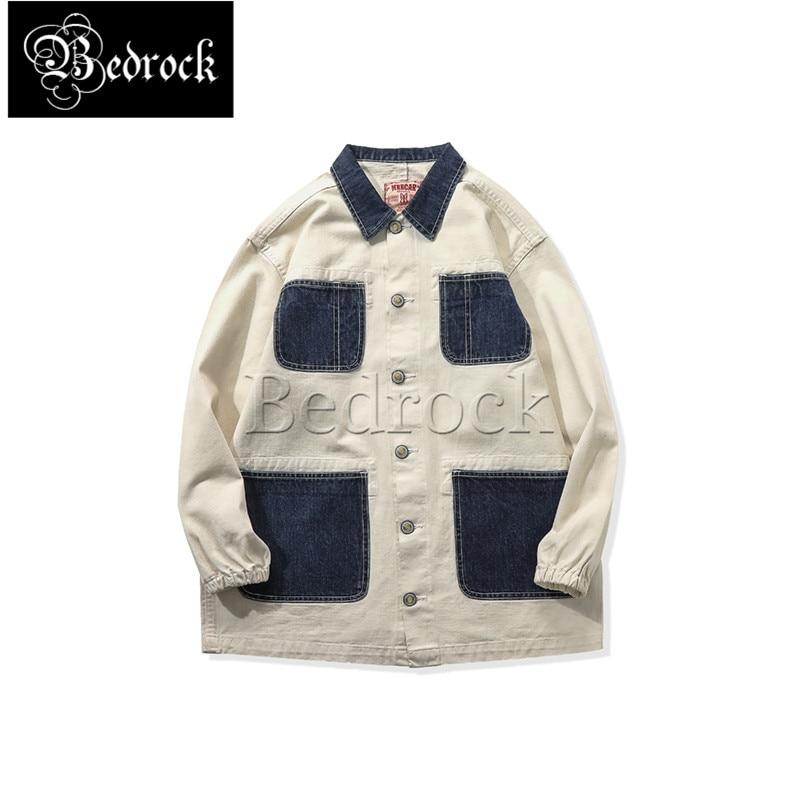 MMC 12OZ cotton shell Raw Denim mid-length jacket washed men's white stitching blue pocket railroad tooling jacket 3044