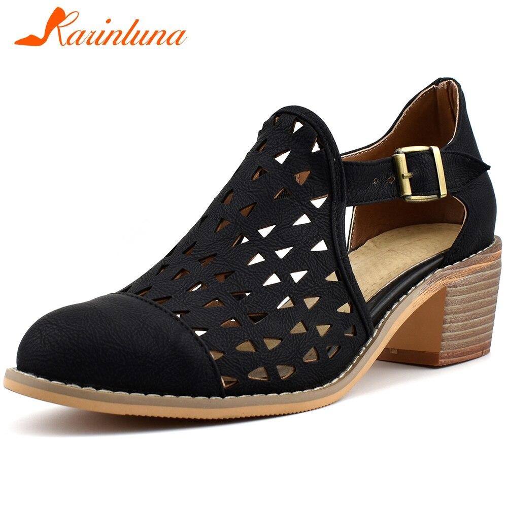 KARINLUNA nouveau dames 2020 haut bloc talons sandales offre spéciale respirant gladiateur sandales femmes été rétro creux chaussures femme