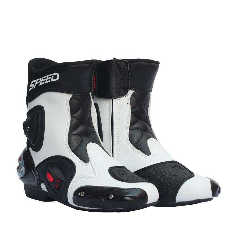 Hommes Moto chaussures de course en cuir Moto bottes équitation Moto Motocross hors route Moto bottes