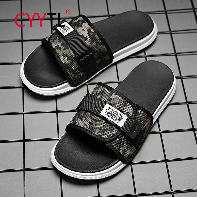CYYTL Camouflage Men Strap Slippers Casual Summer House Indoor Outdoor Sandals Adjustable Comfortable Shoes Chanclas Hombre