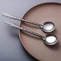 200pcs soup spoon stainless steel dinner spoon with long handle dessert spoon for kitchen tableware coffee scoop
