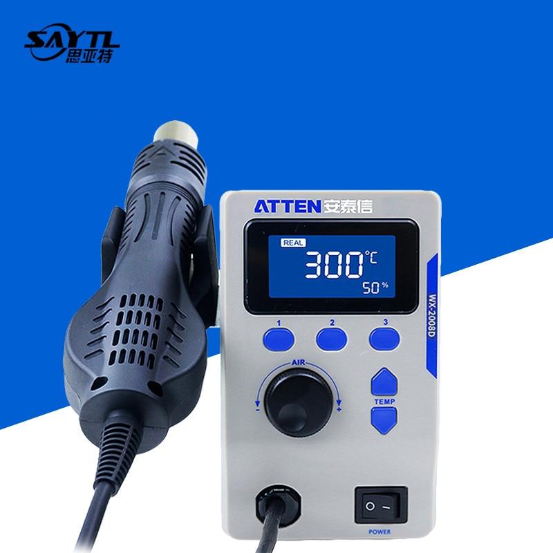 Get ATTEN 2008D 800W ESD Digital Display Heat Gun Welding Rework Soldering Station For iPhone Samsung Mainboard BGA Maintenance