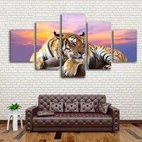 Peinture murale de tigre au coucher du soleil  5 pieces  decoration de maison  salle a manger  chambre a coucher  toile imprimee