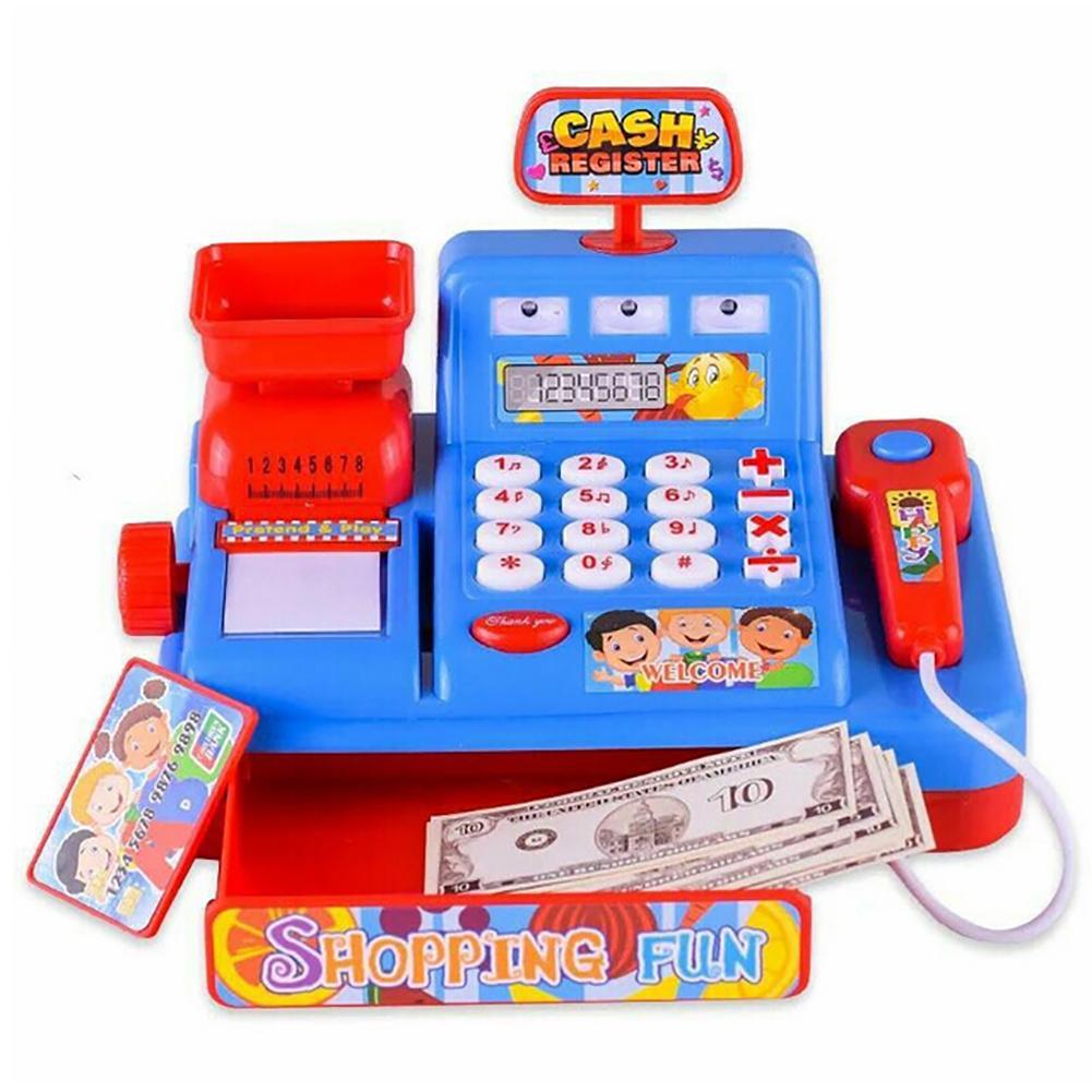 Caja Registradora de luz simulada para niños juguete para jugar a las casitas de plástico ideal para jugar juguetes educativos para edades tempranas