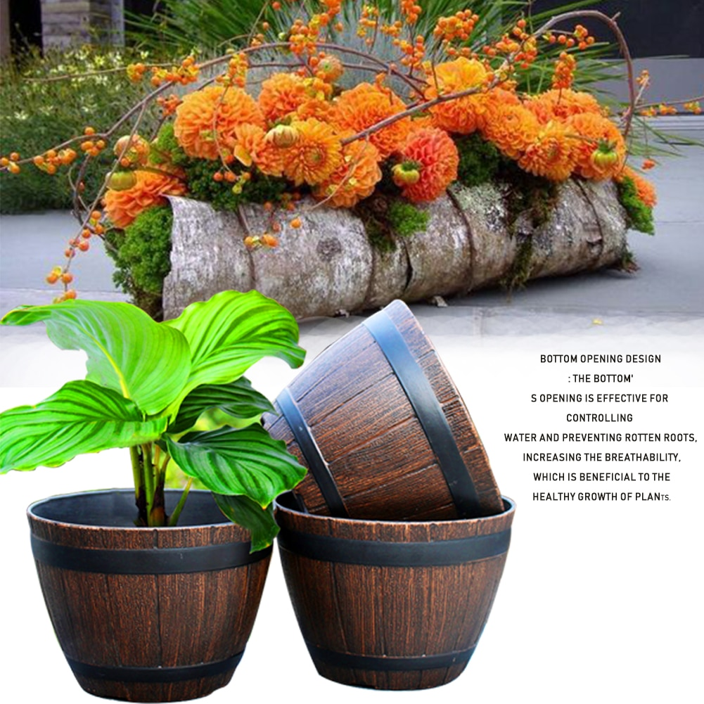 Barril de imitación de madera, Macetas de resina PP, imitación de madera,...