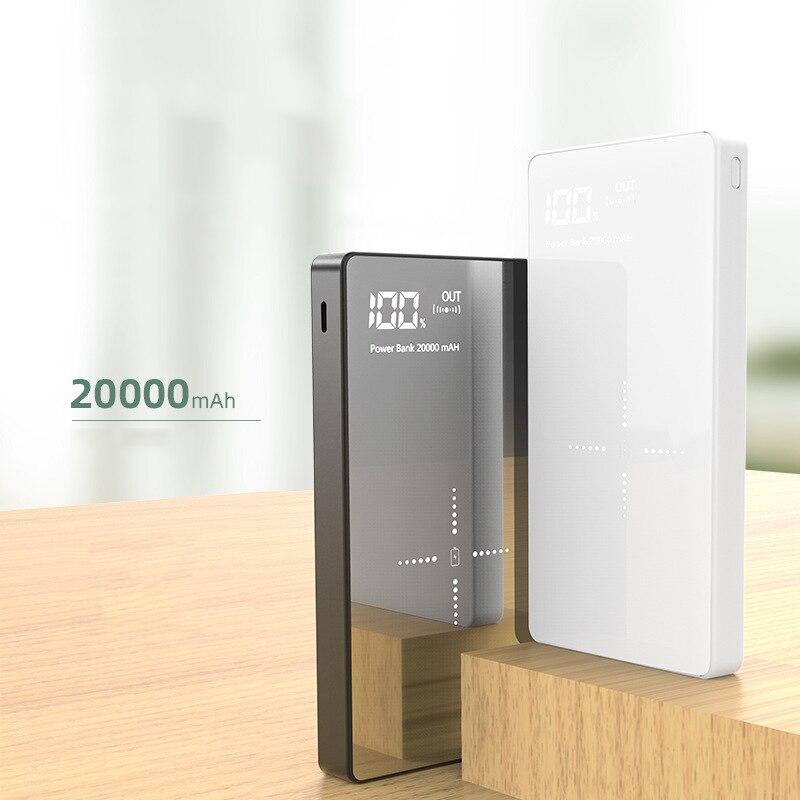 Cargador inalámbrico Qi portátil 20000mAh banco de energía para iPhone 11 Samsung xiaomi mi banco de energía Dual USB batería externa