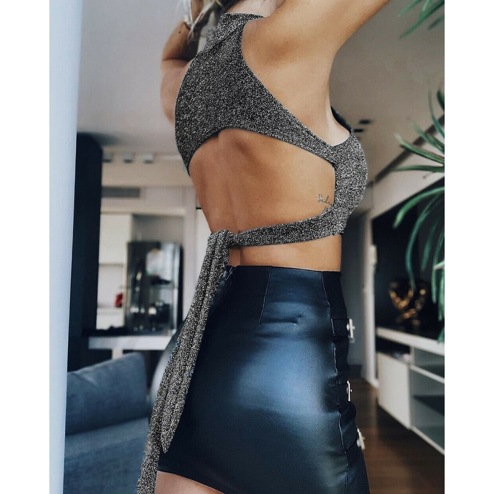 Sexy Summer Holiday Women Tops Sequins Backless Tie Bow knot Hang Neck Choker Bralette Bra Bustier Crop Top Cami Tank Vest