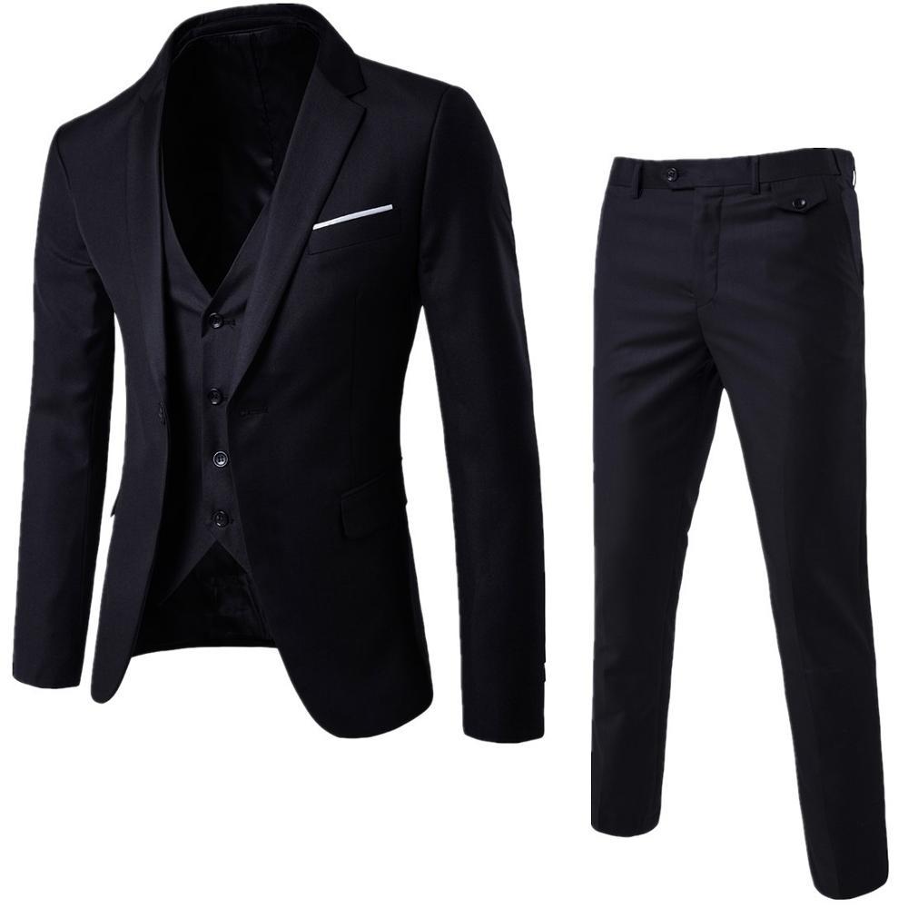 الرجال 3 قطع الأسود الدعاوى أنيقة مع السراويل العلامة التجارية سليم صالح زر واحد حفلة رسمية الأعمال اللباس دعوى الذكور Terno
