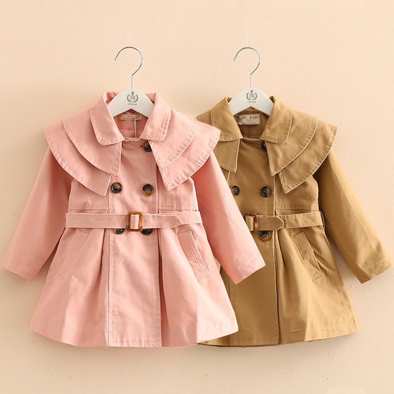 Fashion Children's Jacket Spring New Girls All-Match Round Neck Stitching Pure Cotton Double-Breaste