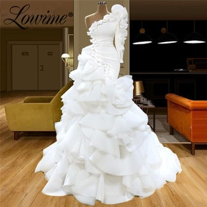Pure White Islamic Formal One Shoulder Evening Dresses 2020 Handmade Flower Customize Party Dress Long Mermaid Prom Gowns
