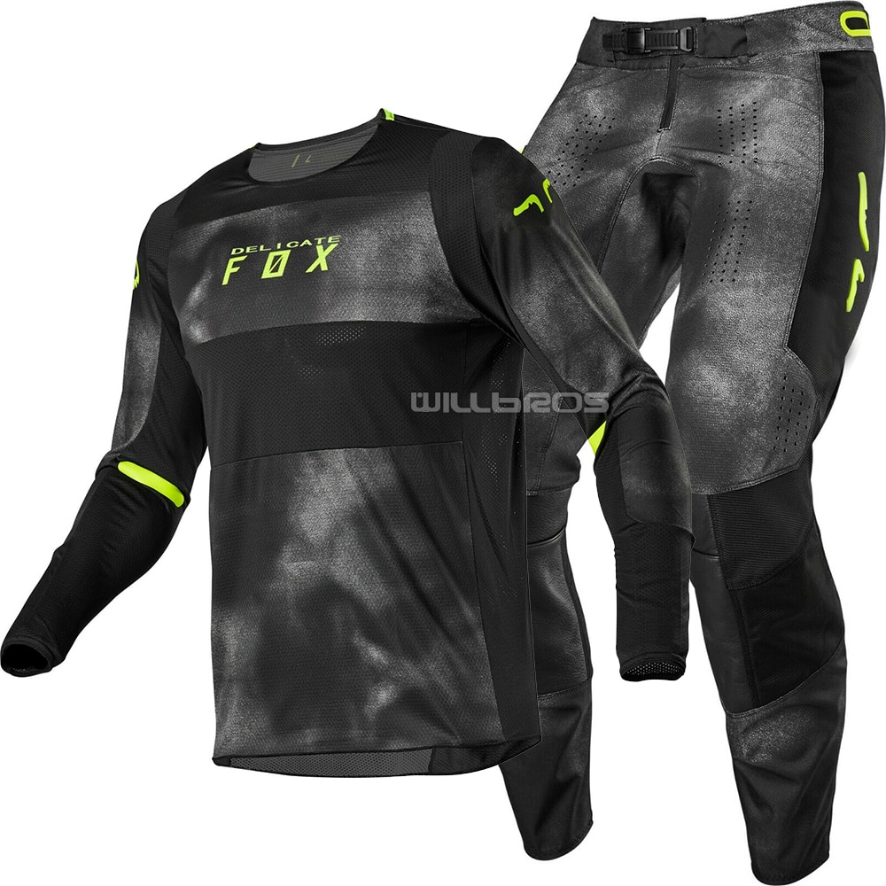 2020 DELICATE FOX MTB MX Racing 360 Haiz Jersey & Pant Combo Black UTV ATV MX Motocross Dirtbike Gear Set