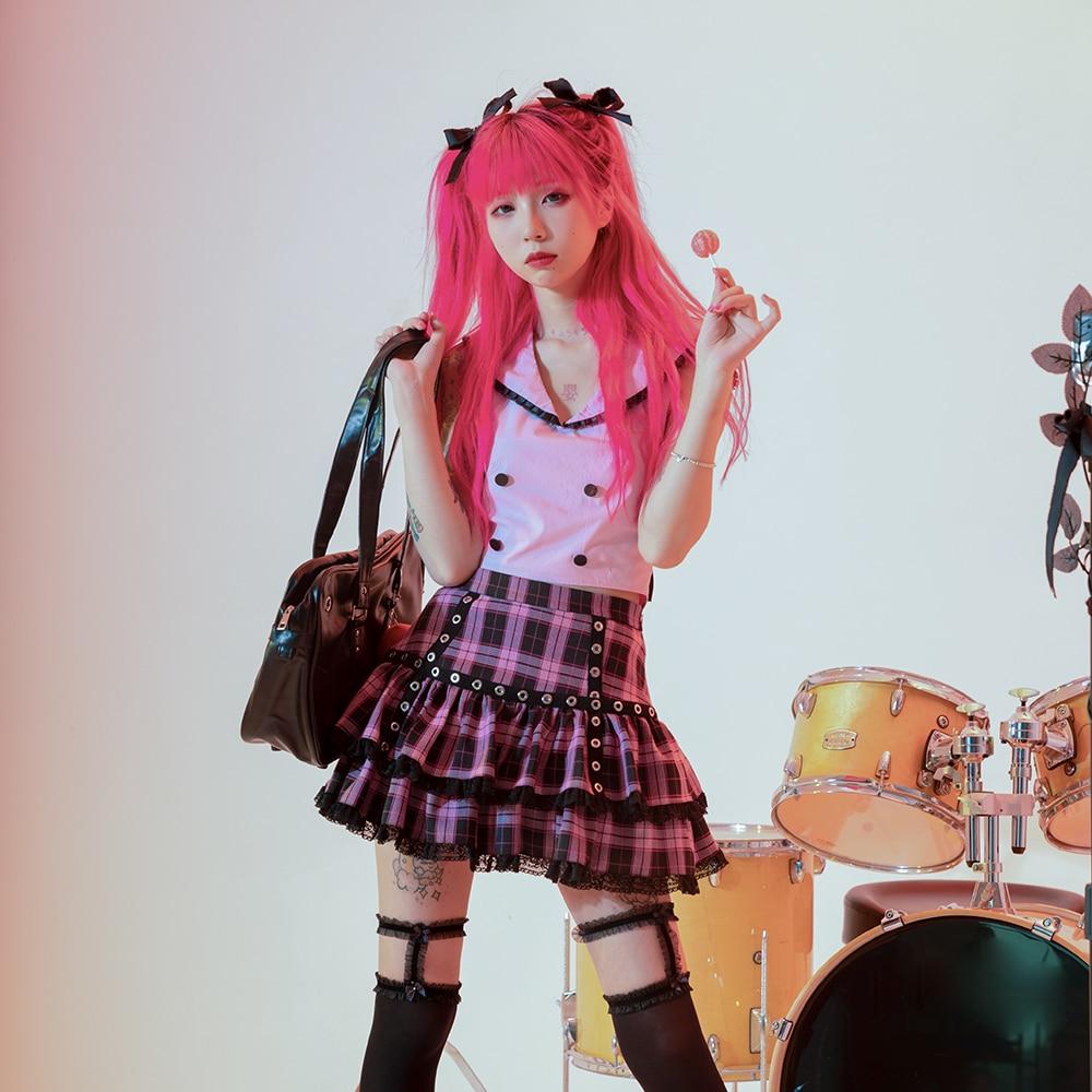 تنورة منقوش وردية بتصميم ياباني تنورة الفتيات اللطيفة البانك لوليتا تنورة صغيرة كعكة كاواي طالب المدرسة 2021 Y2K تنانير الصيف Jupe