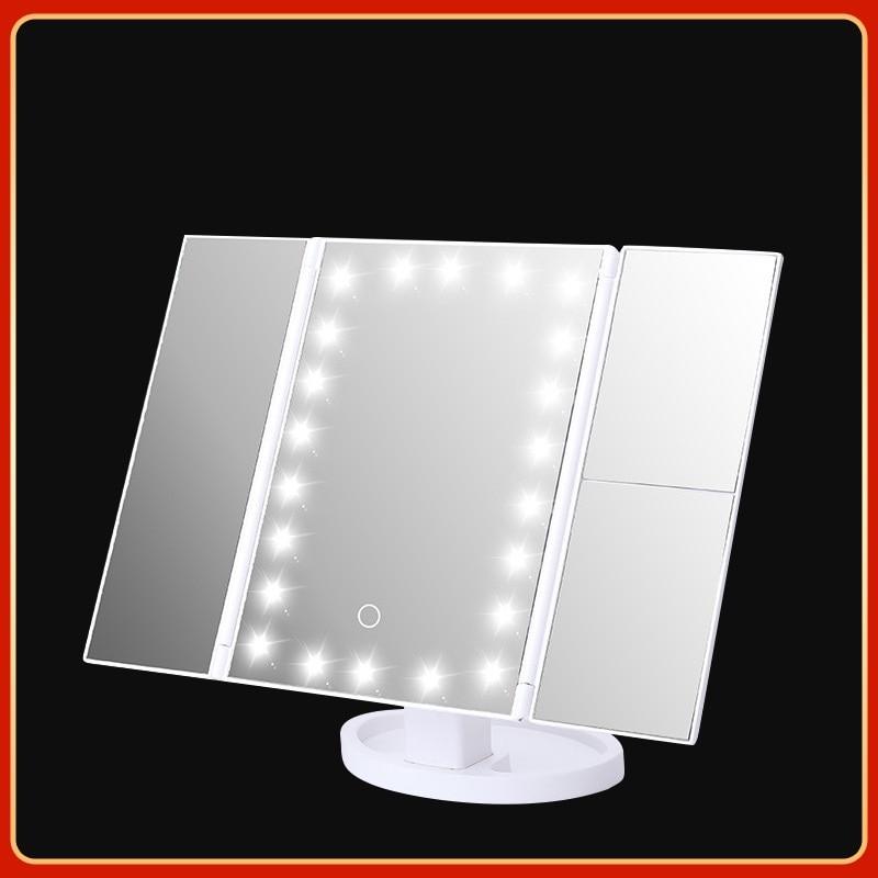 JOYLIVE 2021 Tri-fold Makeup Mirror With Light Magnifying And Luminous Led Desktop Storage Vanity
