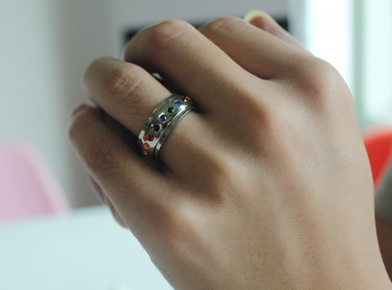 Color Rainbow Crystal Rings Accessories Jewel Ring Fashion Jewelry Lover Valentine Lovers Birthday Couples Party Gifts