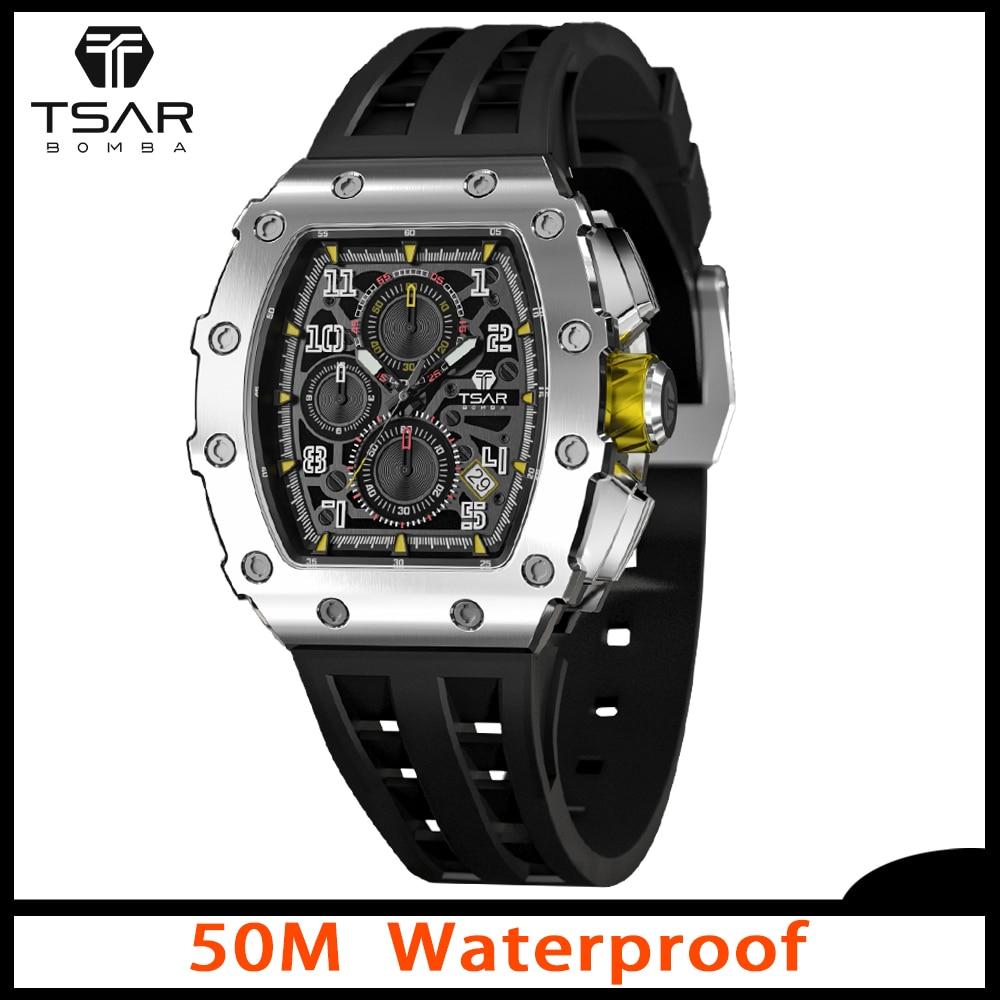 TSAR بومبا ساعات للرجال فاخر Tonneau تصميم 50 متر مقاوم للماء 316L الفولاذ المقاوم للصدأ ساعة اليد الرياضة كرونوغراف أنيق هدية