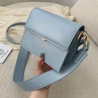 casual flap square small crossbody bags new quality pu leather womens designer handbag wide strap retro shoulder messenger bags