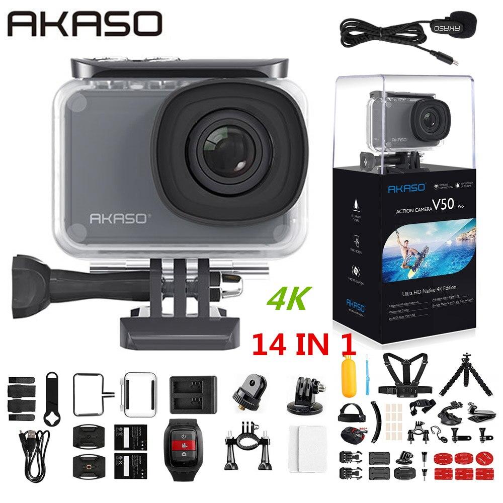 AKASO V50 Pro Native 4K/30fps 20MP WiFi Cámara de Acción EIS pantalla táctil 30m impermeable 4k cámara de deporte soporte externo Micro