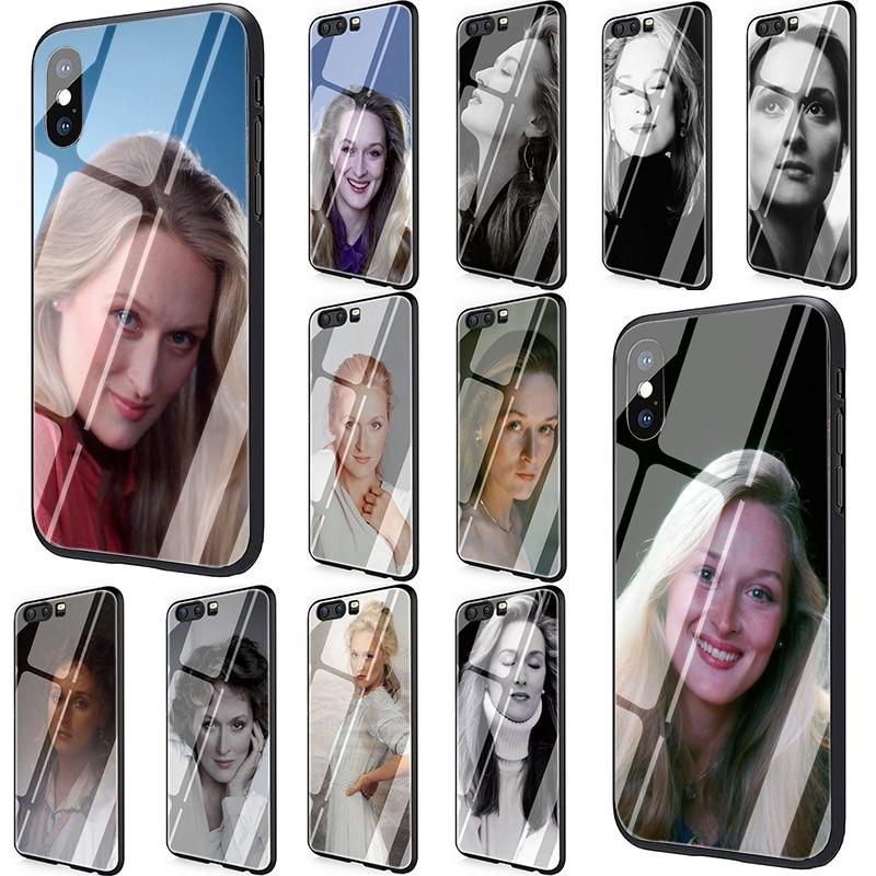 EWAU Meryl Streep Tempered Glass Phone Cover Case for Huawei P20 30 P Smart Mate20 pro Lite Honor9 10 Lite