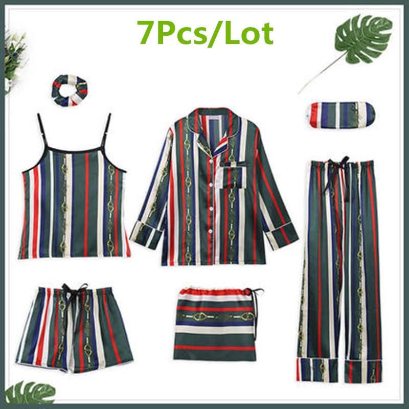 2019 Band Sleepwear Para Pajamas Women's Summer Ice Silk Sexy Sling Size Shorts 7Pcs/Lot Suit Short-sleeved Silk Thin Pyjamas