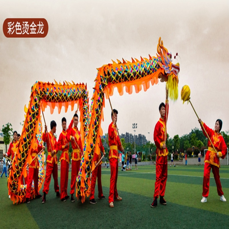 10m Golden Colorful Dragon Dance Costume  8 Players Children Student School  Art Halloween Party Performance Parade Folk Stage