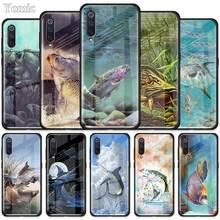 Karpfen Angeln Tier Fall für Xiaomi Redmi Mi Hinweis A3 9T 10 Lite Jugend 10X 9 9S 8 8T K30 K20 Pro K30i Gehärtetem Glas Telefon Abdeckung