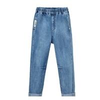 new 5 16 year old boy kids jeans letter printing pocket elastic waist boy jeans girls jeans casual korean jeans boy winter pants