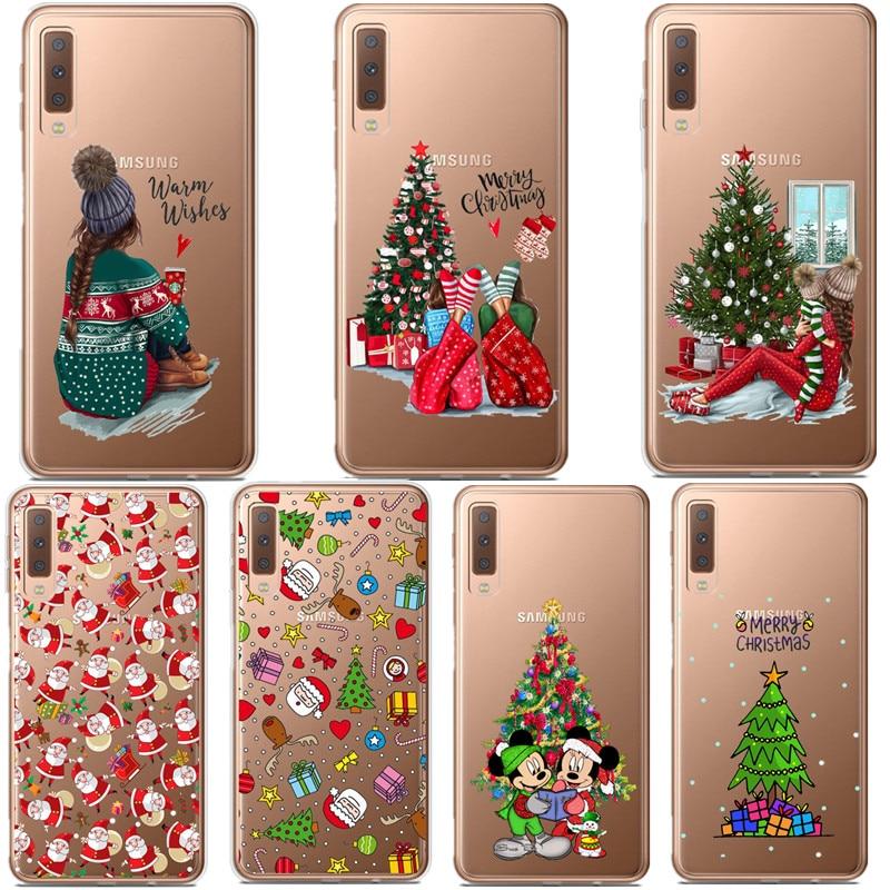 Funda navideña de dibujos animados para Samsung Galaxy A10 A30 A50 A70 A80 2019 cubierta suave de Santa Claus TPU para Samsung A6 A7 A8 Plus A9 2018