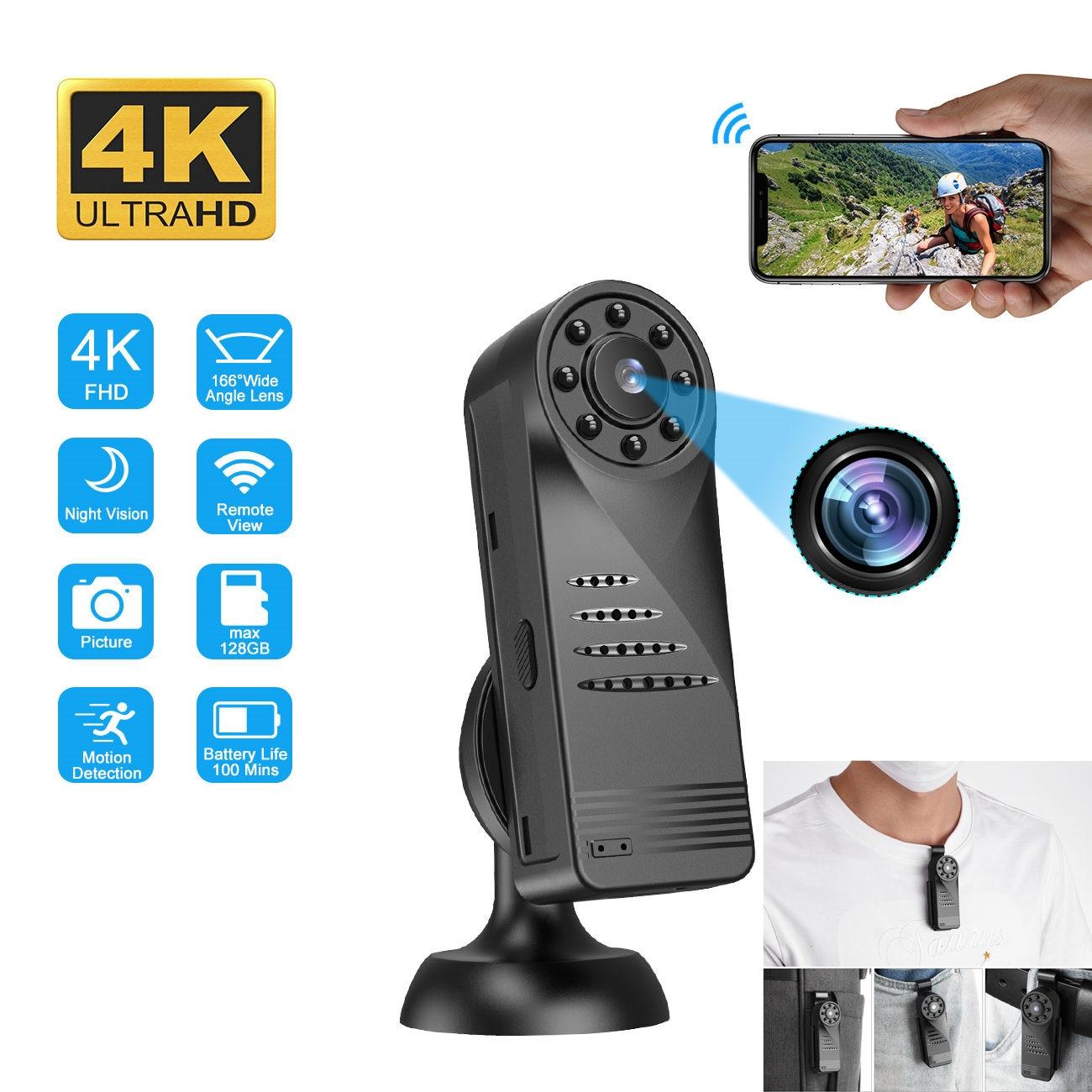 Minicámara Digital portátil 4K, videocámara corporal inteligente inalámbrica, WiFi, HD, Micro cámara...