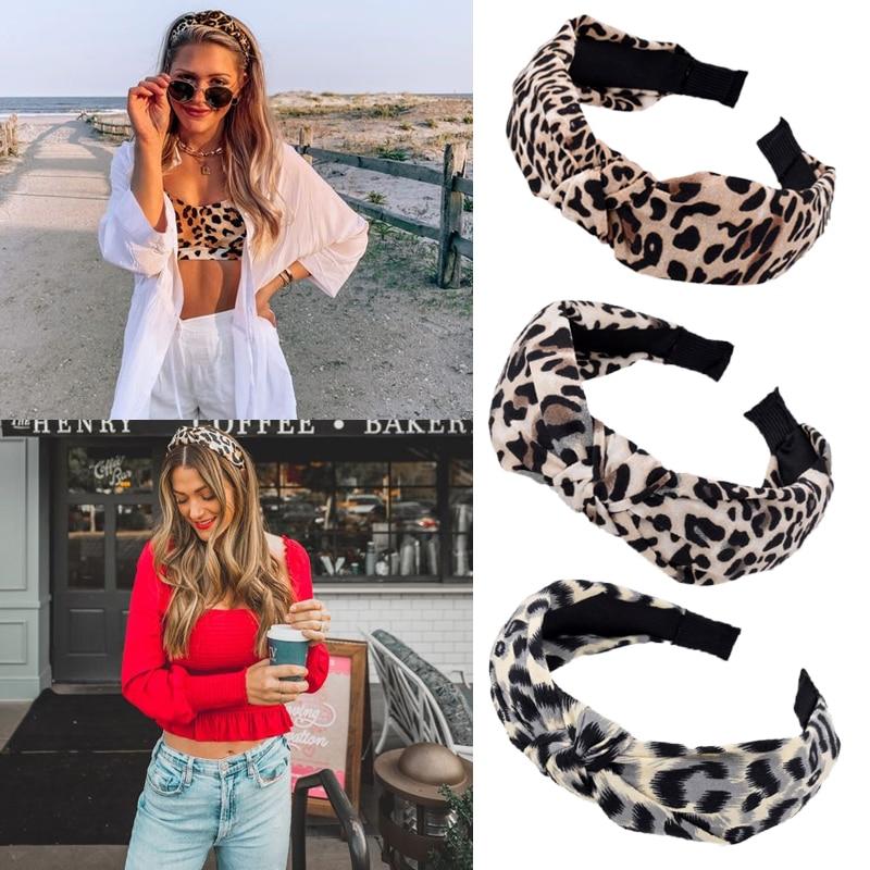 Diadema de leopardo de moda para mujer, banda elástica para el pelo, Lado ancho nudo cruzado, diadema para chicas Adlut, turbante