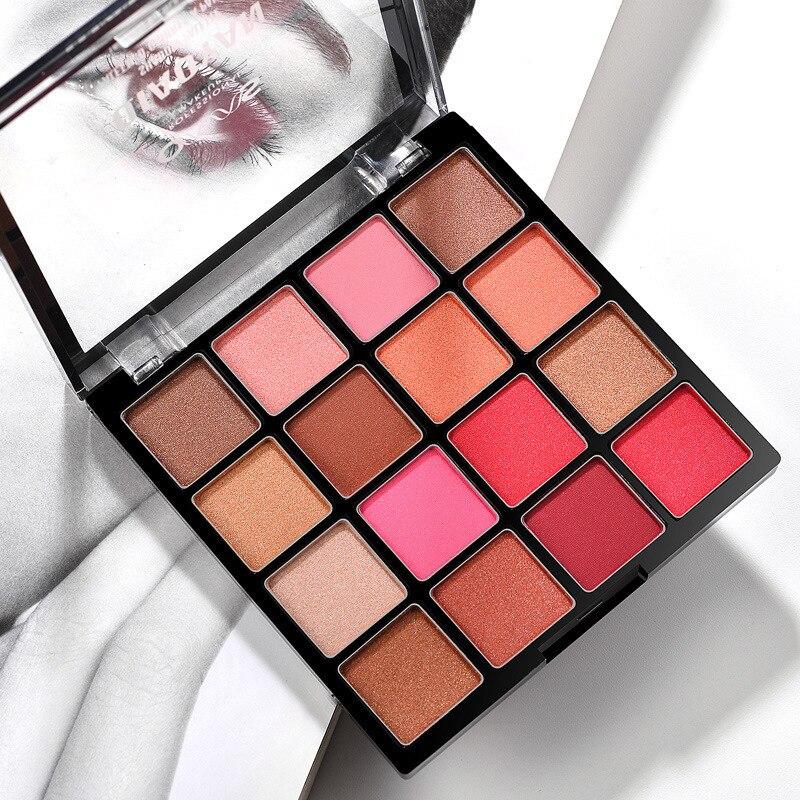 Тени для век Earth color, 16 цветов персиковый макияж, мерцающие тени для век, нюдовый макияж, для начинающих, легко наносится, макияж, тени для век