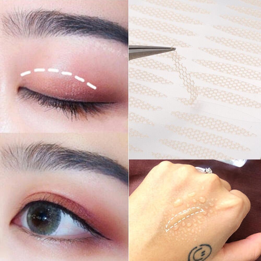 AliExpress - 240pcs Magic Mesh Lace Fiber Invisible Double-fold Eyelid Sticker Transparent  Self-adhesive Eyelid Tape Big Eyes Make Up Tools