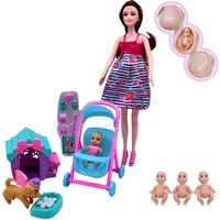 11 55 2020 latest fashion pregnant women barbies doll mother and child combination puppy dog cage simulation children play