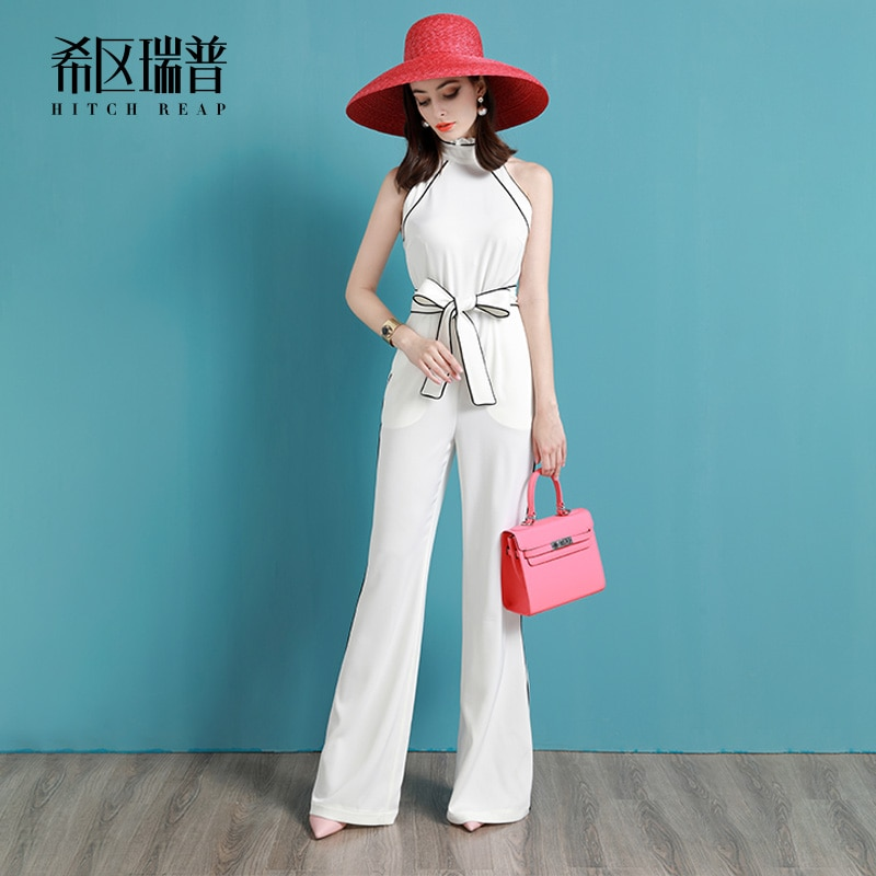 High End Fashion Slim Temperament Jumpsuit Jumpsuit White Flared Pants