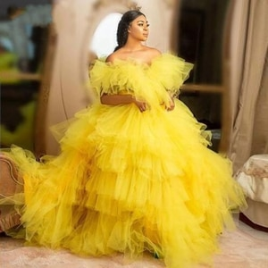 Elgant Yellow Tiered Tulle Evening Party Dresses Trendy 2021 Off The Shoulder Puffy Ball Gowns New Chic Ruffle Long Prom Gowns