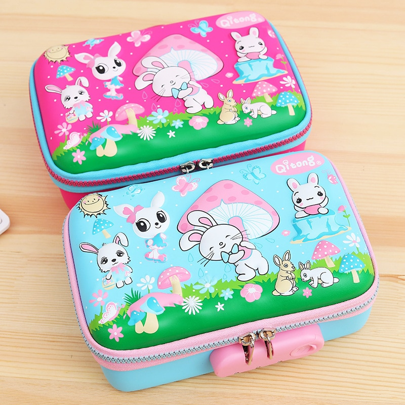 Kawaii School Pencil Case with Password Code Cute Pencilcase Combination Lock Large Pen Box Office Stationery Bag Kit Supplies