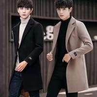 wool coat mens korean version young slim fit medium and long windbreaker mens youth trend mens woolen coat
