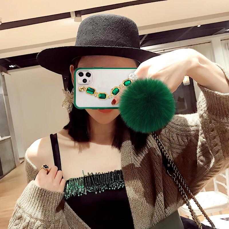 Geeignet foriPhone 11 Pro Max Telefon Fall Rubin Smaragd Armband Armband Haar Ball Mode Neue Königin Exklusive Stil