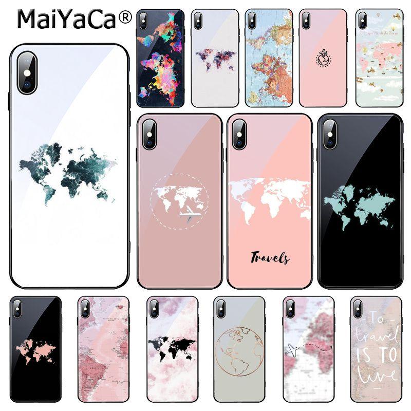 MaiYaCa Mapa Mundial viaje Just Go funda de teléfono de vidrio templado para iphone 11 Pro 11 Pro XR XS MAX 8X7 6S 6 Plus