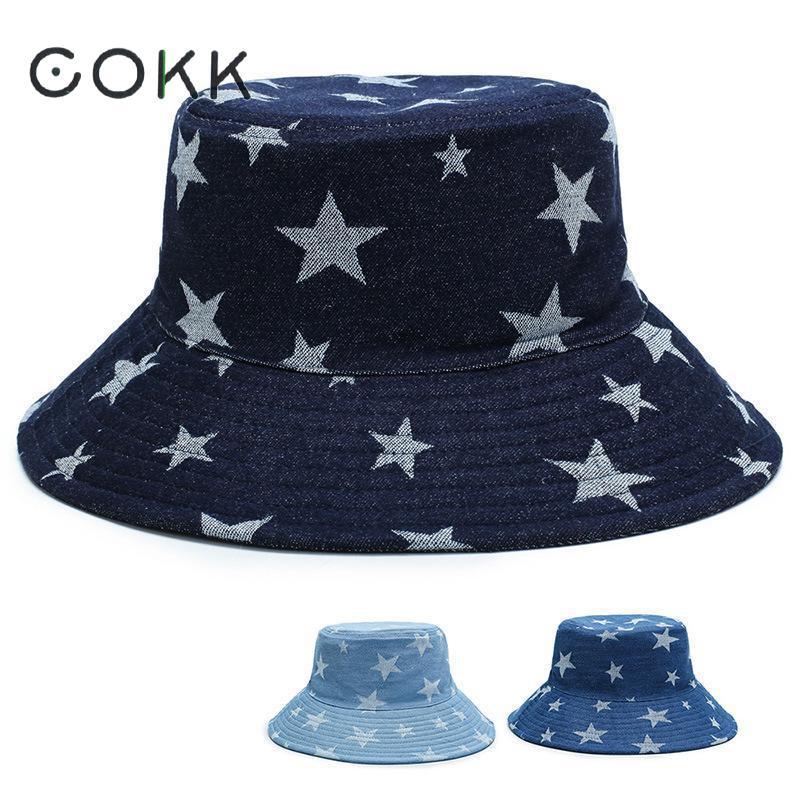 COKK Double Side Cotton Star Pattern Bucket Hat Women Denim Cloth Bucket Hat Female Casual Travel Hat Korean Gorras