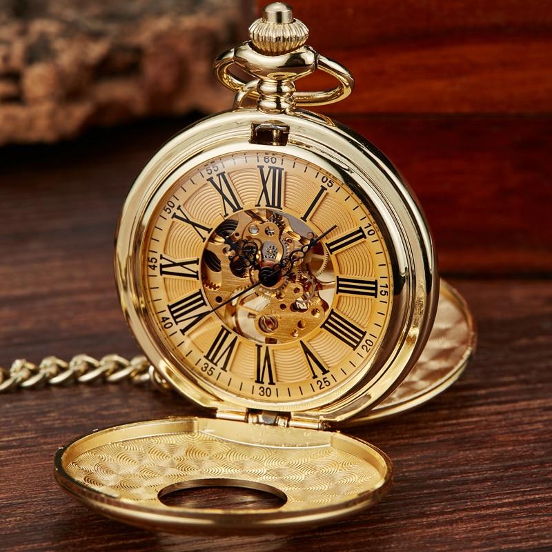 Vintage 2 Sides Open Case Mechanical Men's Watch Double Face Roman Dial Clock Hand Wind Pocket Watch