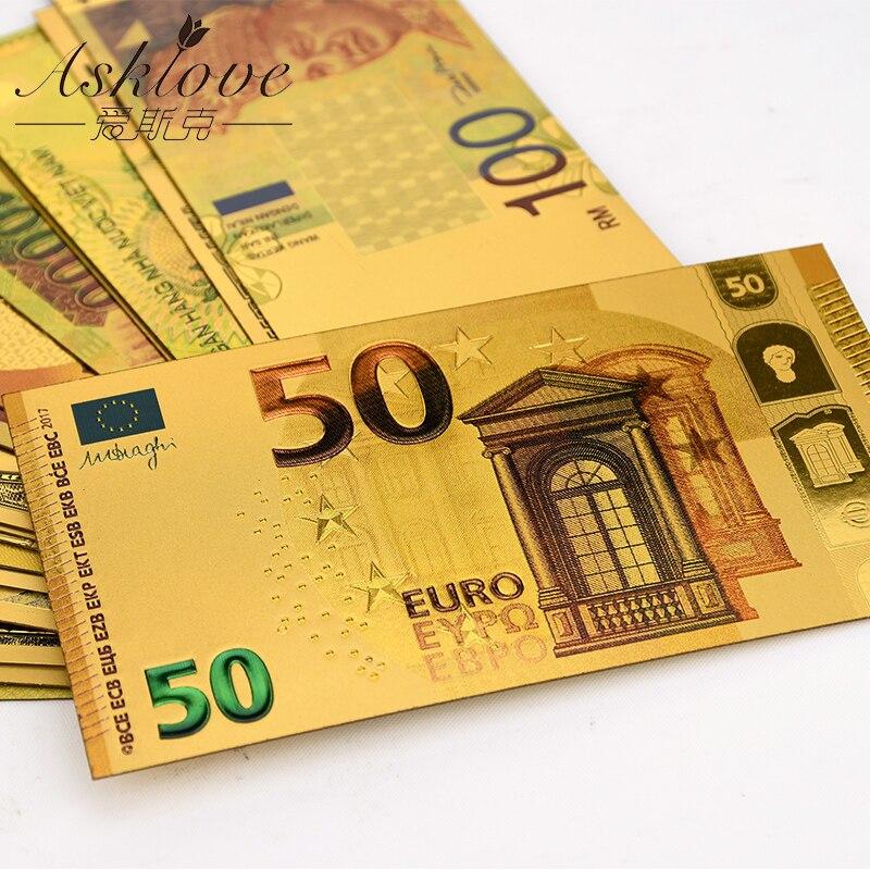 10 шт евро золотые банкноты золото фольга деньги 24K золото поддельные бумажные деньги для сбора сувенир 5 10 20 50 евро банкноты наборы образец